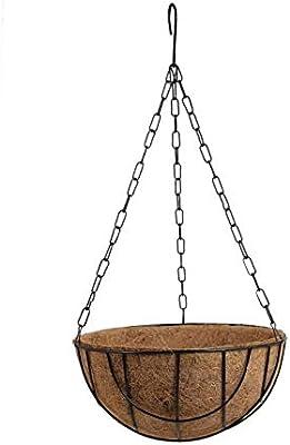 Pankaj Nursery Coir Hanging Basket with Chain, Green, 10 Inch, Pack of 2