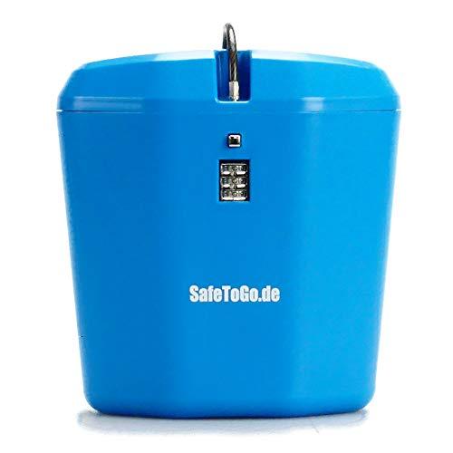 Strandtresor zum Anketten Abschließen Wertsachen-Box Zahlenschloss Strand Beach SafeToGo Mini-Safe Reisezubehör Urlaub Gadget praktisch, Farbe:blau