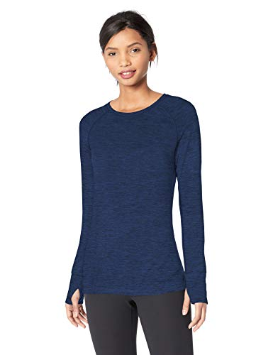 Amazon Essentials Women's Brushed Tech Stretch Long-Sleeve Crew-Neck Shirt, Navy Space dye, Large