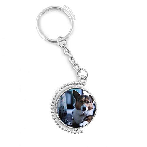 DIYthinker Corgi Perro de Mascota Animal Solitario Imagen giratoria Titular de la Clave Anillo de la...