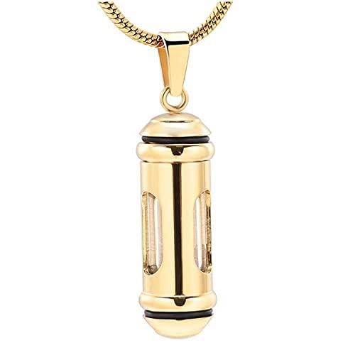 Wxcvz Collar De Urna para Cenizas Ventana De Cilindro De Vidrio Urna De Cremación Joyería Recuerdo Collar Conmemorativo Mantenga Cenizas para Mujeres
