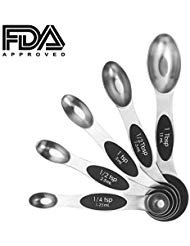 Colossal ship Double Sided Stainless Steel set Magnetic Measuring Spoons-Set Of 5 for Dry or Liquid Fits in Spice Jar Liquid Dry Spice Jar Sugar