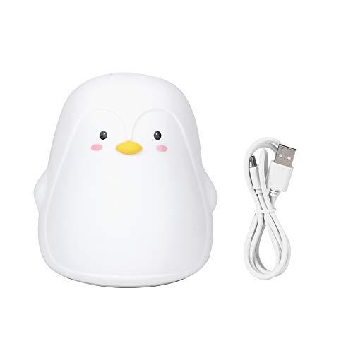 JIUA Lámpara De Luz De Noche LED De Carga USB De Pingüino Lindo Colorido De Silicona para Dormitorio, Mesita De Noche, Blanco