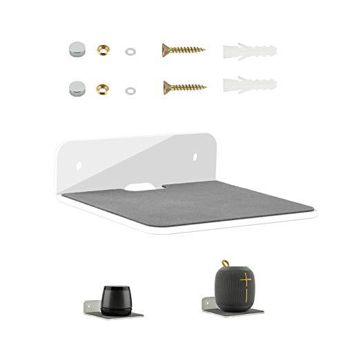 Wall Shelf Speaker Stand, TXEsign Small Wall Shelf Speaker Mount for Bluetooth Speaker, Webcam, Cell Phones, Toy Display Shelf Acrylic Speaker Shelf (Silky White & Transparent)