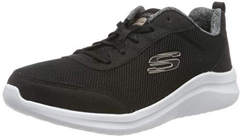 Skechers Ultra Flex 2.0, Zapatillas para Mujer, Negro (Black Mesh/Duraleather/White Trim BKW), 38 EU