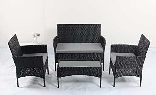 Rattan-Gartenmöbel-Set, 4-teilig, Rattan-Möbel-Sofa, Webgeflecht, inkl. 2 Sessel, 1 Doppelsitz-Sofa und 1 Tisch