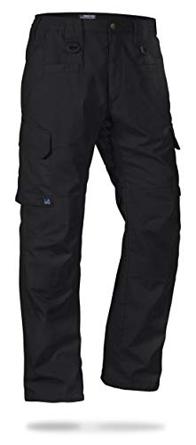 LA Police Gear Men's Water Resistant Operator Tactical Pant with Elastic Waistband Black-38 x 32