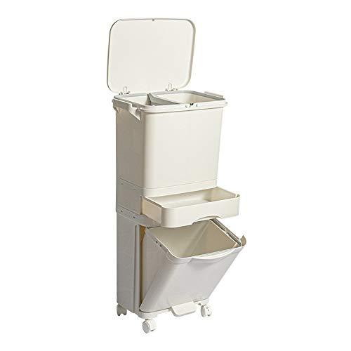 JGB-SNHSX Multifunctionele huishouden keuken Bedroom Dubbel Deksel met afneembare Partition lade Meegaand Trash (Color : 35L)