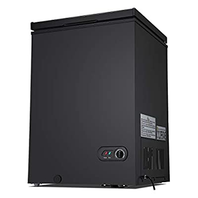 Antarctic Star 3.5 Cu.ft Chest Freezer 6.8?to -4?with Removable Basket Free Standing Top open Door Compact Freezer with Adjustable Temperature Defrost Water Drain/Power Saving Black