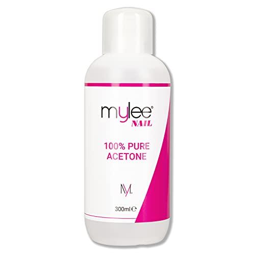 Mylee 100% Puro Acetone Levasmalto 300ml,Solvente per Unghie, Rimuove smalto Gel Semipermanente UV/LED, Gel Nail Polish Remover, Compatto e Tascabile