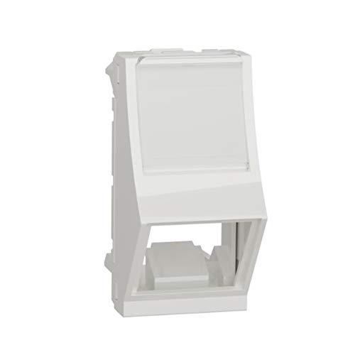 Carátula toma RJ45, inclinada, 1 módulo, color blanco polar (Schneider Electric NU940618)