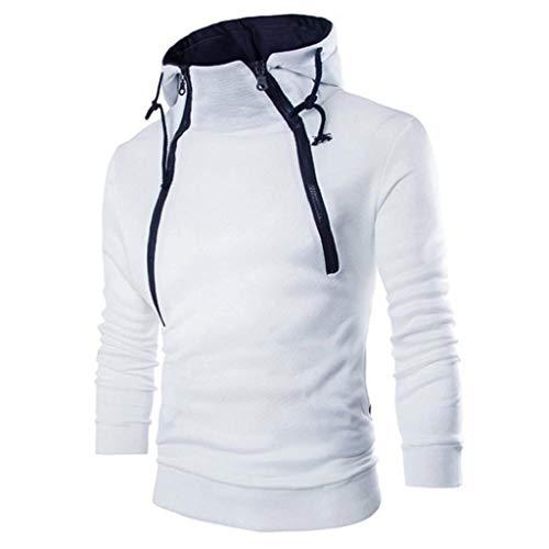 SHOBDW Hombres Sudadera con Capucha Otoño Invierno Cuello Alto de Gran Tamaño Tallas Grandes Camisetas de Manga Larga Remiendo Sólido tee Outwear Blusa Suéter(Blanco,2XL)