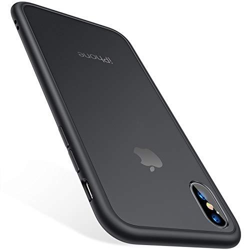 TORRAS Stoßfest iPhone XS Hülle/iPhone X Hülle [Schutz nach Militärstandard] Kratzfest iPhone X/XS Hülle Schutzhülle Durchscheinend Hard PC Back und Silicon Bumper Handyhülle iPhone X/XS - Mattschwarz