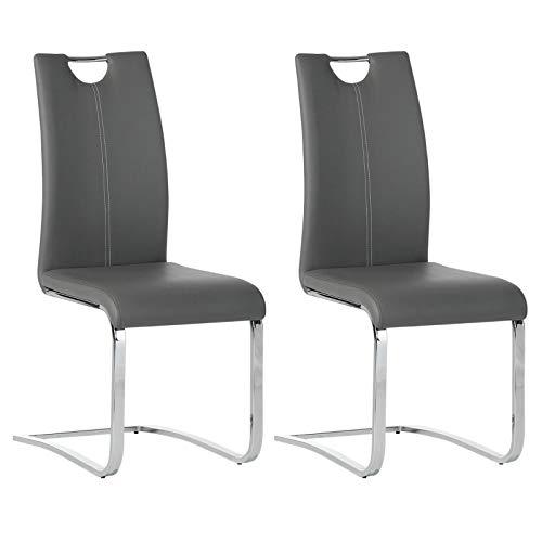 IDIMEX 2er Set Esszimmerstuhl Schwingstuhl Freischwingerl SABA, Set mit 2 Stühlen, Bezug in grau
