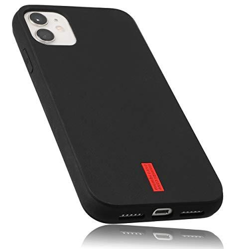 mumbi Hülle kompatibel mit iPhone 11 Handy Hülle Handyhülle, schwarz mit rotem Streifen