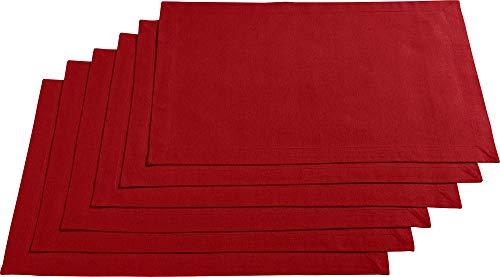 REDBEST Tischset, Platzset, Untersetzer Uni 6er-Pack Seattle, 100% Baumwolle - Robustes, glattes Gewebe, mit hochwertigem Kuvertsaum, rot Größe 30x45 cm (weitere Farben)