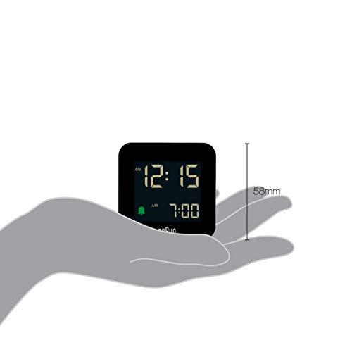 Braun Digital Travel Alarm Clock with Snooze, Compact Size, Negative LCD Display, Quick Set, Crescendo Beep Alarm in Black, Model BC08B.