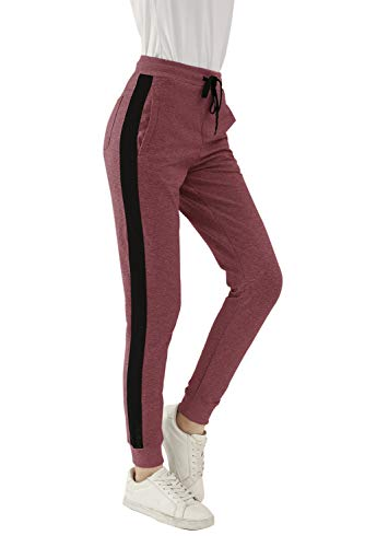 SWEET POISON Teen Girls high Waisted Gap Mesh Side Seams Drawstring Sweatpants Pant Cotton Yoga Pants with Pockets for Women Wide Leg Baggy Sweatpants Wine Red XXL