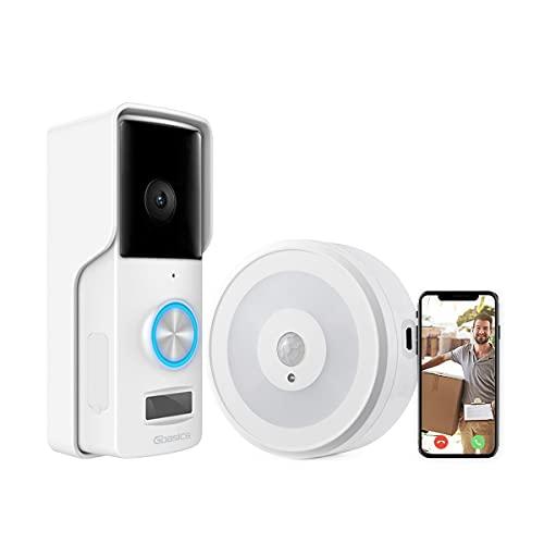 Gbasics Videocitofono Wifi, 1080P Campanello Senza Fili da Esterno Impermeabile IP65 con Visione Notturna, Cablaggio/Batteria Alimentato, Compatibile con Android iOS