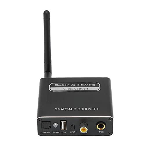 Yunseity Convertidor De Audio Digital Entrada Multipuerto, 5 En 1 Coaxial óptico Digital A Analógico RCA L/R Adaptador Convertidor De Audio Soporte USB/Blutooth/Entrada De Micrófono