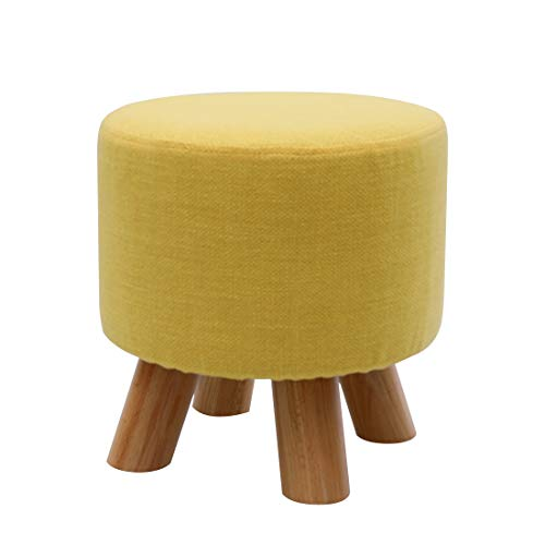 UUSSHOP Round Wooden Support Upholstered Footstool Ottoman Pouffe Padded Chair Stool with Removable Linen Cover 4 Beech Legs (Yellow)