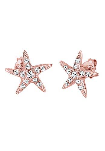 Elli Pendientes Pendientes femeninos Starfish Beach con cristal en plata esterlina 925