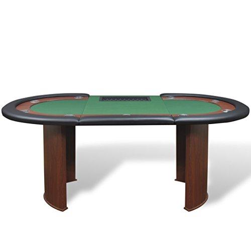 Festnight Pokertisch Spieltisch Casino Poker Tisch bis zu 10 Spieler mit Dealerbereich und Chipablage 208x107x81cm Grün - 2