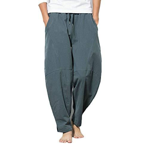 Rexcyril Men's Linen Casual Baggy Pants, Drawstring Cotton Loose Harem Pants Pockets Yoga Trousers Gray, 34-36