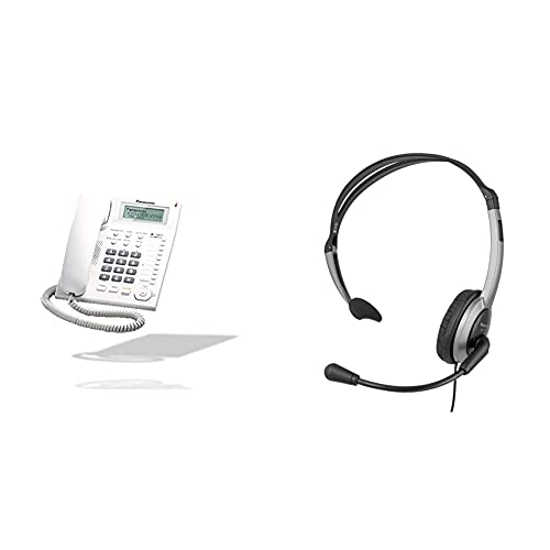 Panasonic KX-TS880 Teléfono Fijo con Cable (LCD, Entrada Jack, marcación Directa, Altavoz) + RP-TCA430E-S Auriculares de Diadema Abiertos para para teléfonos con Conector de 2.5 mm