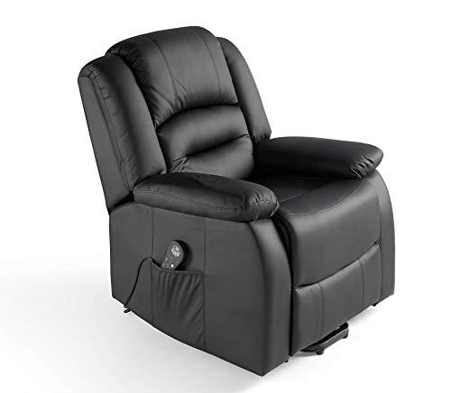 ECO-DE Fauteuil Relax Massage 9 programmes Chaleur Lombaire, 8 Vibrateurs, Inclinable Simil Cuir Haute Qualitée ECO-8198 Couleur noir