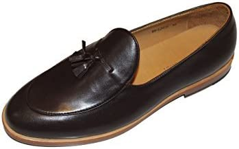 SMYTHE & DIGBY Mens Brown Leather Tassel Belgian Loafers Goodyear Welted Sole