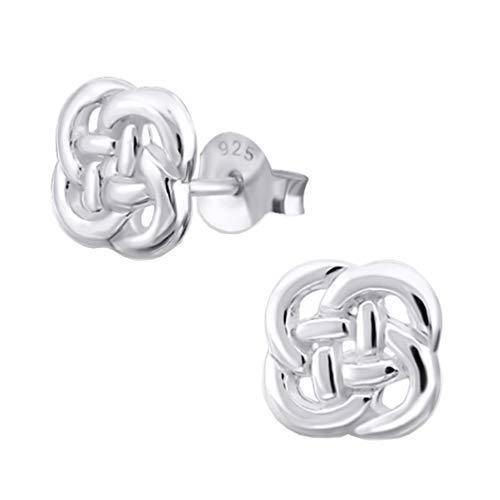 DTP Silver - Pendientes de Mujer en forma de Nudo Celta 6 x 6 mm - Plata de Ley 925