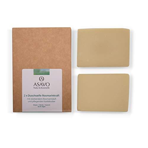ASAVO Premium Naturseife Rosmarin, handgeschöpft, mit feiner Bio-Karitébutter, nativem Bio-Kokosöl & 100% ätherischen Ölen, vegan, Clean Beauty Produkt, 2x95g