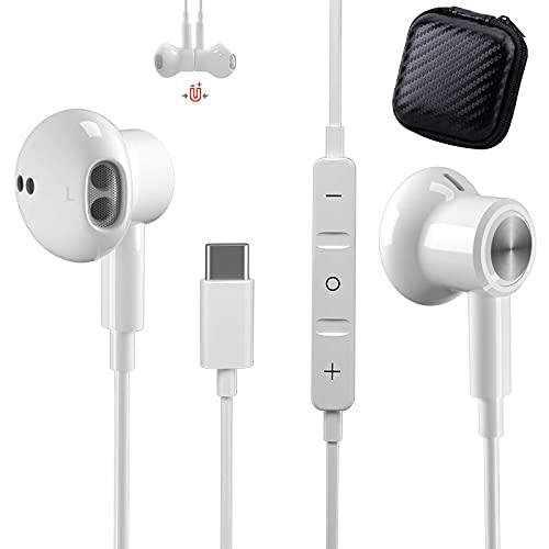 Tipo C Auricolari TUBhanggai USB C In-Ear Cuffie USB C Auricolari cablati con microfono e controllo del volume per Samsung S20 S21 FE S21 Ultra Note 20 Huawei P40 P30 OnePlus 9 Pro Google Pixel 5 4 XL