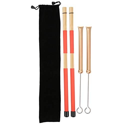 El juego de cepillos de tambor incluye 1 par de cepillos de tambor y 1 par de cepillos de alambre retráctiles para tambor con bolsa de transporte para accesorios de tambor(Cepillo de oro)