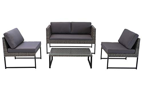 OUTFLEXX Loungemöbel, grau meliert/grau, Polyrattan/Polyester, 90x50cm, 4 TLG, 4 Personen, inkl. Polster