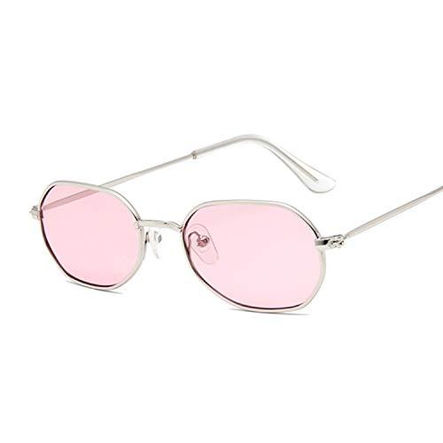 TYJYY Sunglasses Small Pink Hexagon Sunglasses For Women Luxury Eyewear Shades Ladies Alloy Mirror Sun Glasses Female Uv400