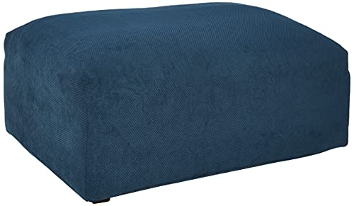 SureFit Home Décor SF45545 Stretch Pique Oversized Ottoman Covers Slipcover, Form Fit, Polyester/Spandex, Machine Washable , One Piece, Navy Color