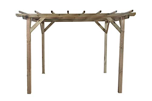 Pérgola clásica rectangular de madera para jardín - medidas H215cm x 300 cm x 300 cm