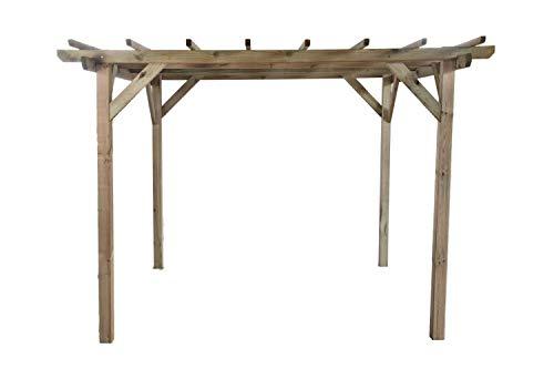 Gartenlauben und Carports G&C Henley Holzpavillon – Klassische viereckige Pergola aus Fichtenholz – druckimprägniert – Maße: H215 cm x 300 cm x 300 cm