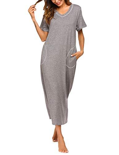 ADOME Nachthemd Baumwolle Nachtkleid Sommer still Pyjama lang Nachtwäsche Negligee Sleepshirt Schlafkleid V-Ausschnitt (XL, 6619_grau)