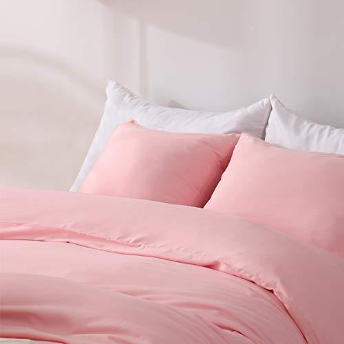 Aisbo - Funda de edredón de microfibra con 2 fundas de almohada de 65 x 65 cm, juego de cama de matrimonio, ideal para las 4 estaciones, 240 x 260 cm, color rosa