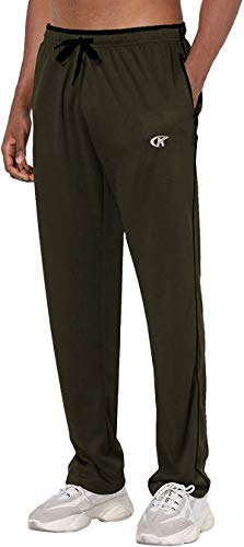 YuKaiChen Pantalones de chándal para hombre Athletic Open Bottom de malla, con bolsillos Armygreen/black35 S