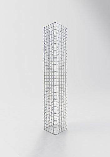 GABIONA Säule Steinkorb-Gabione eckig, Maschenweite 5 x 5 cm, Höhe 160 cm, Spiralverschluss, galvanisch verzinkt (27 x 27 cm)