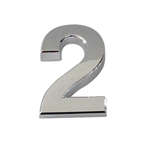 aspire Lot de 4 numéros de maison et de voiture argentés - Chiffres (0-9) - 5,1-7 cm H