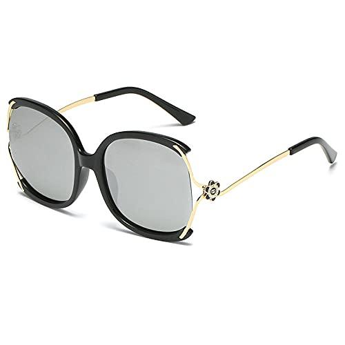 Gafas de sol Gafas de sol de flor de té de montaña femeninas finas gafas de sol Personal Street Tiro de gafas Espejo solar-Color foto_Marco de oro