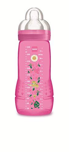 MAM Easy Active Baby Bottle 330 ml, Biberón ergonómico fácil de agarrar, biberón grande de aprendizaje, tetina MAM nº 3 de silicona y tapa antigoteo, 4+ meses, rosa