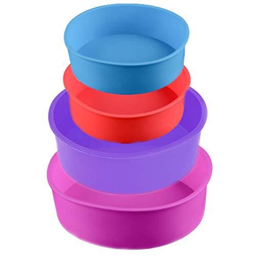 Silikon Kuchenform Runde Backform 4 Stück Silicone Round Cake Moulds Silikon-Kuchenform Tortenbodenform 6 Zoll, 4 Zoll, Antihaft-Backformen Pfanne, Multi Color