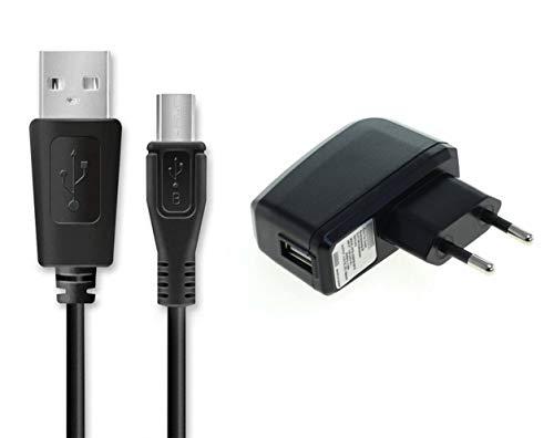 GIGAFOX® Ladegerät: Netzteil + USB-Kabel Ladekabel Datenkabel (Micro-USB - langer Stecker) 1A, 1m, schwarz - für Caterpillar Cat S60 / S50 / S41 / S40 / S31 / B30 / B25 / B15Q / B15 / B100 / B10