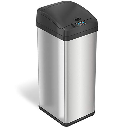 iTouchless 13 Gallon Pet-Proof Sensor Trash Can with AbsorbX Odor Filter System Stainless Steel Kitchen Garbage Bin Prevents Dogs and Cats Getting in Battery not Included or AC Adapter Optional